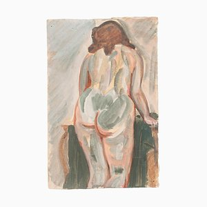 Nude from the Back - Tempera and Watercolor by J.-R. Delpech - Mid 20th Century Mid 20th Century