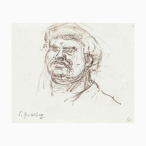 Portrait - Dessin au Pluie Original par S. Goldberg - Milieu 20ème Siècle 20ème Siècle