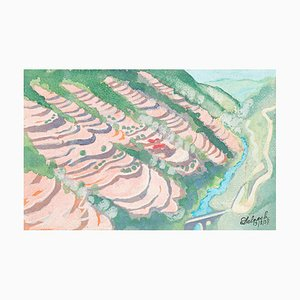 Pinke Landschaft - Aquarell auf Papier von J.-R. Delpech - 1937 1937