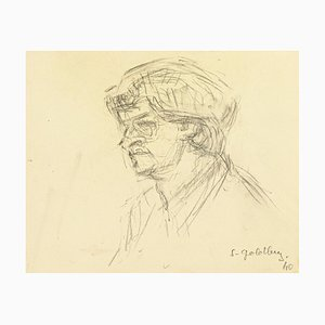 Portrait - Original Pencil Drawing by S. Goldberg - Mid 20th Century Mid 20th Century