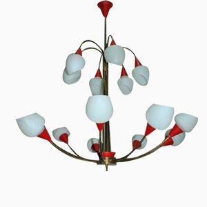 Lámpara de araña italiana Mid-Century de Stilnovo.