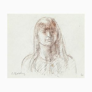Woman- Original Pencil and Pastel Drawing by S. Goldberg - Mid 20th Century Mid 20th Century