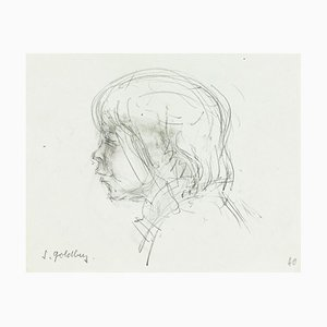 Boy - Original Pencil Drawing by S. Goldberg - Mid 20th Century Mid 20th Century