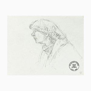 Portrait - Original Pencil Drawing by S. Goldberg - Mid 20th Century Mid 20th Century