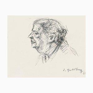 Portrait - Dessin Original Crayon & Plume par S. Goldberg - Milieu 20ème Siècle 20ème Siècle