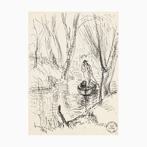 Boatman - Original Pen Drawing by S. Goldberg - Mid 20th Century Mid 20th Century
