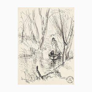 Boatman - Original Pen Zeichnung von S. Goldberg - Mid 20th Century Mid 20th Century