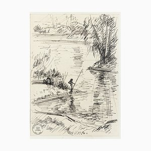 Fisherman - Original Pen Drawing by S. Goldberg - Mid 20th Century Mid 20th Century