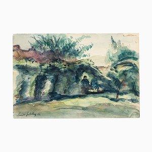 Landscape - Original Watercolor by S. Goldberg - 1953 1953