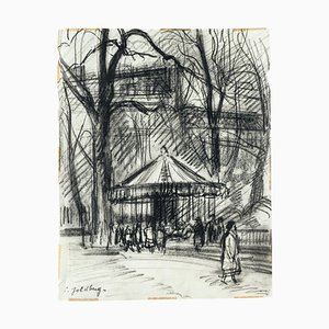 Park - Original Charcoal Drawing by S. Goldberg - Mid 20th Century Mid 20th Century