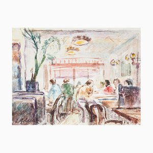 In the Café - Original Pencil and Watercolor by S. Goldberg - Mid 20th Century Mid 20th Century