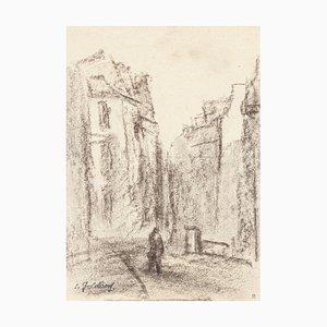 Village - Original Charcoal Zeichnung von S. Goldberg - Mid 20th Century Mid 20th Century