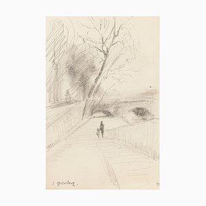 Bridge - Original Pencil Drawing by S. Goldberg - Mid 20th Century Mid 20th Century