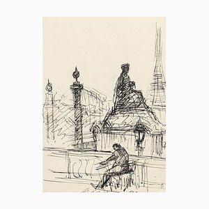 Einsamkeit in Paris - Original Pen Drawing von S. Goldberg - Mid 20th Century Mid 20th Century