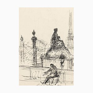 Loneliness in Paris - Original Pen Drawing by S. Goldberg - Mid 20th Century Mid 20th Century