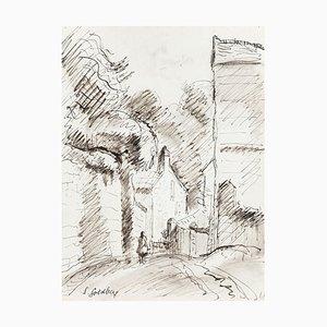 Path - Original Pen Drawing by S. Goldberg - Mid 20th Century Mid 20th Century