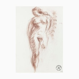 Nude - Original Pencil and Pastel Drawing by S. Goldberg - Mid 20th Century Mid 20th Century