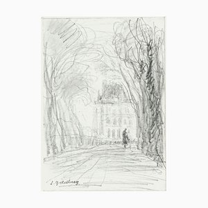 Maison - Original Pencil Drawing by S. Goldberg - Mid 20th Century Mid 20th Century