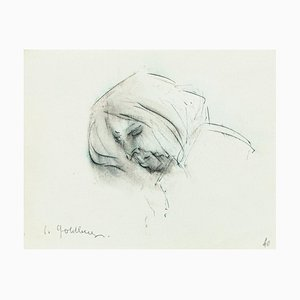 Portrait - Original Pencil and Pen Drawing by S. Goldberg - Mid 20th Century Mid 20th Century