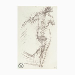 Nude from the Back - Original Pencil Drawing by S. Goldberg - Mid 20th Century Mid 20th Century