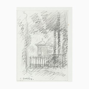 Cottage - Original Pencil Drawing by S. Goldberg - Mid 20th Century Mid 20th Century