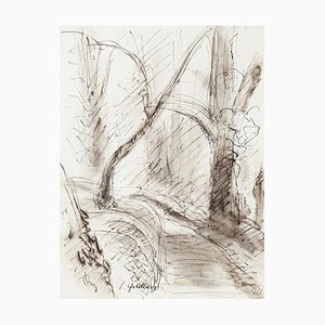 Forest - Original Ink and Watercolor by S. Goldberg - 1950s 1950s