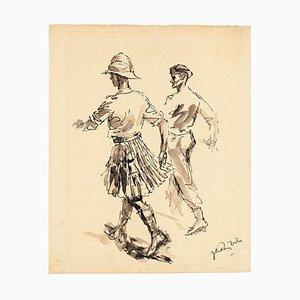 Femmes - Encre de Chine Original et Aquarelle par JL Rey Vila - 1950s 1950s