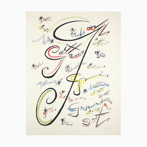 Letter J - Hand-Colored Lithograph by Raphael Alberti - 1972 1972
