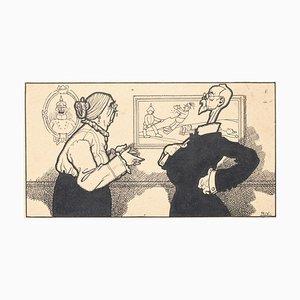 The Discussion - Original China Tinte von Carlo Rivalta - 1914 1914