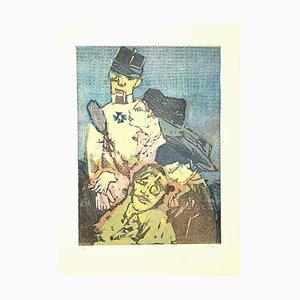 Soldier and Women - Original Woodcut by Mino Maccari - 1960s 1960s