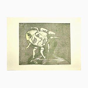 Damen - Original Holzschnitt von Mino Maccari - 1960er 1960