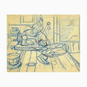The Seamstress - Original Pastel on Paper par European Master 1900 Mid 20th Century