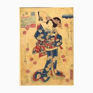 Orientalische Frau mit Fächer - Original Holzschnitt von Utagawa Kunisada - 1860er ca. 1860