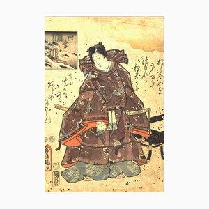 Portrait of a Samurai - Original Woodcut by Utagawa Kunisada - 1860s 1860 ca.