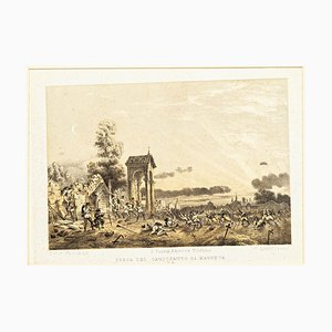 Defense of the Cemetery in Magenta - Original Lithograph by Carlo Perrin - 1860 1860