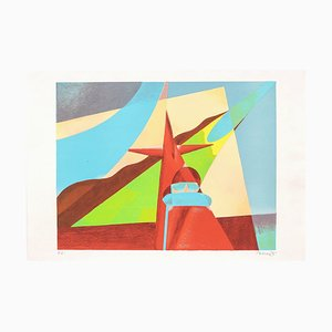 Airplane Man - Original Lithograph by O. Peruzzi - 1988 1988