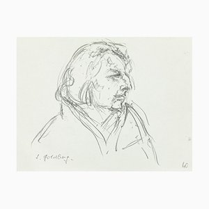 Portrait - Original Pen Drawing by S. Goldberg - Mid 20th Century Mid 20th Century