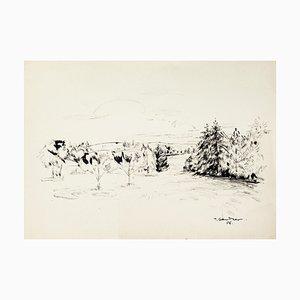 Landscape - Original Mixed Media by T. Gertler - 1970s 1970s