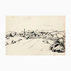 Technique Mixte Originale par T. Gertler Landscape - 1970s 1970s