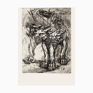 Cerberus - Original Etching by M. Chirnoaga - Late 20th Century Late 20th Century