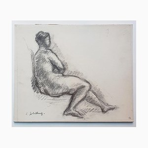 Nude - Original Charcoal Drawing by S. Goldberg - Mid 20th Century Mid 20th Century