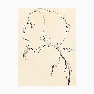 Portrait - Original Schwarze Markierung auf Papier von T. Gertler - 1950er 1950er