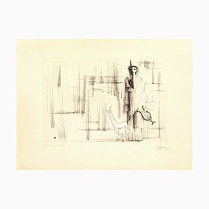 Musique de Harpe - Original Etching by C. Bang - Early 20th Century Early 20th Century