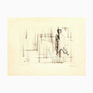 Musique de Harpe - Original Radierung von C. Bang - Frühes 20. Jahrhundert Frühes 20. Jahrhundert