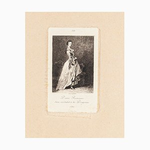 Dame Romaine - Original Etching and Drypoint by Lèon Gaucherel - 1862 1862