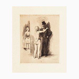 Gallant Scene - Original Etching by O. Heidbrinck - 1898 1898