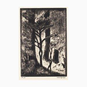 Au Bois de Boulogne - Original Etching by H. Farge - Mid 20th Century Mid 20th Century