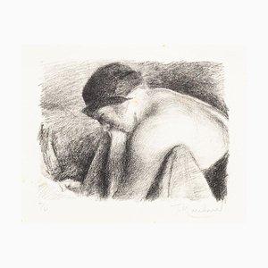 Weibliche Figur mit Hut - Original Lithographie von JH Marchand - 1920 ca. 1920er