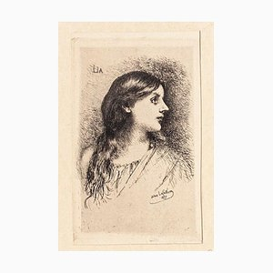 Lia - Original Etching by J. Lefebvre - Late 19th Century Late 19th Century
