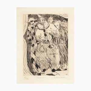 Clowns - Original Etching by Jean Boudal - 1950s 1950s